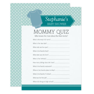 Baby Shower Game - Mommy Quiz Blue Boy Polka Dots Card