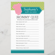 Baby Shower Game - Mommy Quiz Pink Girl Polka Dots
