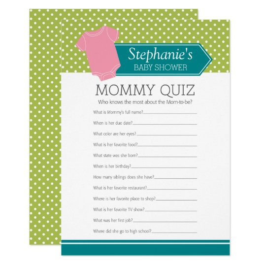 Baby shower game mommy quiz pink girl polka dots card zazzle baby shower game mommy quiz pink girl polka dots card stopboris Image collections