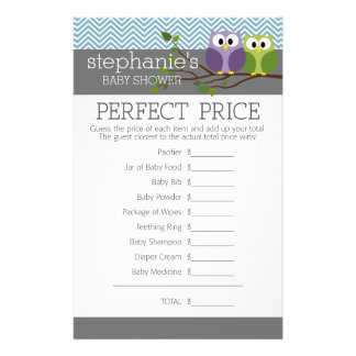 """Baby Shower Game - Perfect Right Price 5.5"""" X 8.5"""" Flyer"""