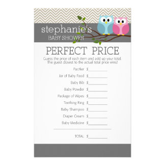 Baby Shower Game - Perfect Right Price Personalized Stationery