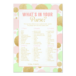 Baby Shower Game What's in your Purse Card