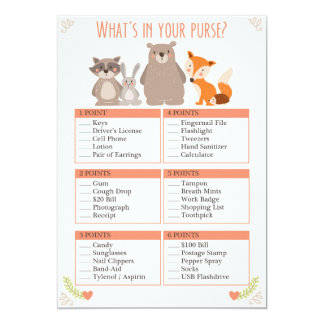 Baby Shower Game Whats in Your Purse Woodland Card