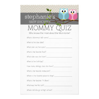 Baby Shower Game - Who Knows Mommy Best Quiz Stationery
