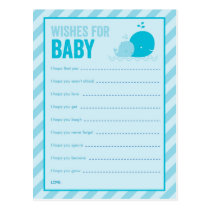 Baby Shower Game - Wishes for Baby - Blue Whale Postcard