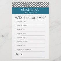 Baby Shower Game Wishes - Teal and Gray Chevrons