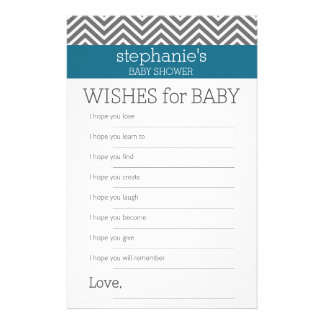 Baby Shower Game Wishes - Teal and Gray Chevrons Stationery