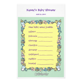 Baby Shower Game - Word Jumble Stationery