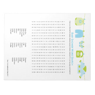 Baby Shower Game Word Search Notepad (Blue)
