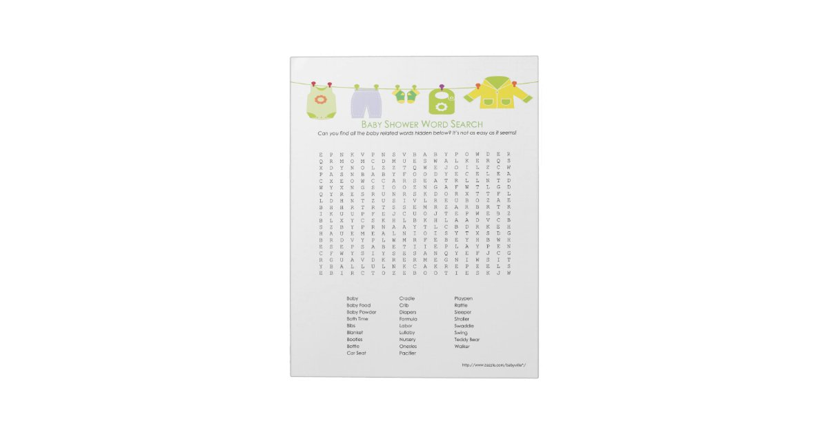 Baby Shower Game Word Search Notepad Neutral Zazzle