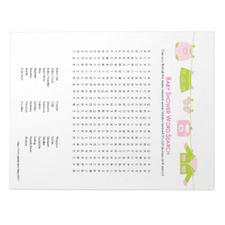 Baby Shower Game Word Search Notepad (Pink)