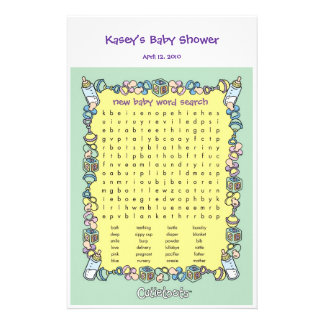 Baby Shower Game - Word Search Stationery