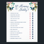 """Baby Shower Games - Guess Who Mommy or Daddy Flyer<br><div class=""""desc"""">Parents to be Couples game,   on flyer paper. (like the &quot;guess who bride or groom&quot; game)  Painted floral baby shower game. Backer color is customizable.  The gorgeous painted florals are by Create the Cut. Find them on Creative Market https://crmrkt.com/7WdAX,  Etsy https://www.etsy.com/shop/CreateTheCut,  and  www.createthecut.com</div>"""