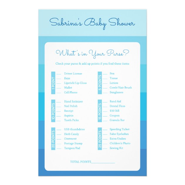 baby shower games in blue ombre stripes flyer