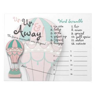 Baby Shower Games, Word Scramble, Hot air Balloon Note Pad