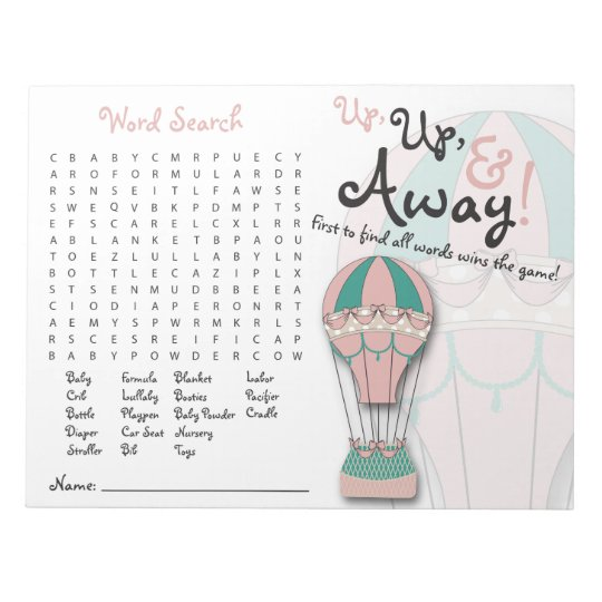 Baby Shower Games Word Search Hot Air Balloon Notepad Zazzle