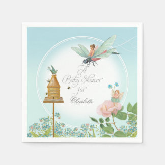 Baby Shower Garden Party Fairy Floral Bee Theme Napkin
