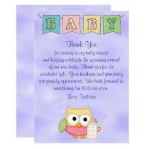 Baby Shower Gender Neutral Owl Card