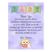 Baby Shower Gender Neutral Owl Postcard