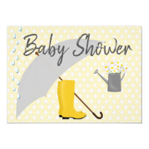 Baby Shower Gender Neutral Umbrella and Rain Boots Card