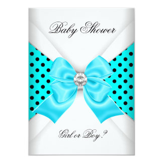 Baby Shower Gender Reveal Black Teal White Spots Card
