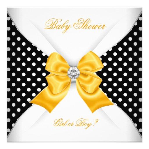Baby Shower Gender Reveal Black Yellow White Spots Invitations