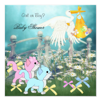 Baby Shower Gender Reveal Cute Kitten Stork Floral 5.25x5.25 Square Paper Invitation Card