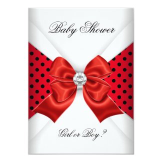 Baby Shower Gender Reveal Red Black White Spots Card