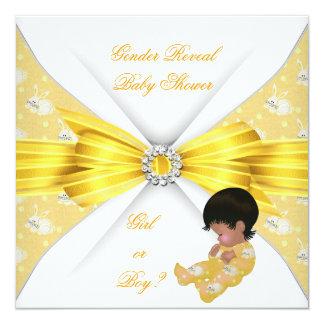 Baby Shower Gender Reveal Yellow Girl Boy Bunny AM Card