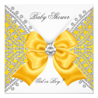 Baby Shower Gender Reveal Yellow White 5.25x5.25 Square Paper Invitation Card