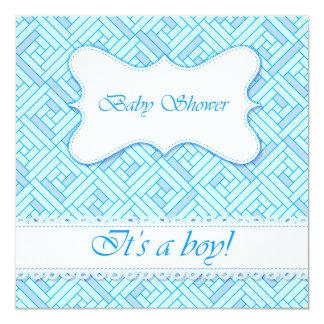 Baby shower geometric pattern blue card