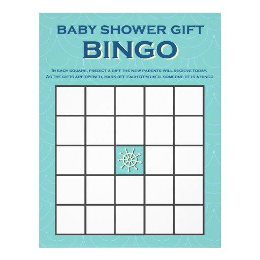 Baby Gift Bingo : Baby shower gift bingo boy nautical game letterhead zazzle