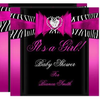 Baby Shower Girl Baby Hot Pink Black Zebra Card