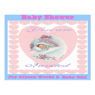 Baby Shower-Girl Baby Love Hearts Postcard