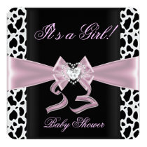 Baby Shower Girl Baby Pink Black White Cow Print 2 Card