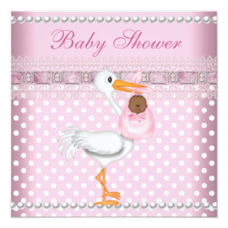 Baby Shower Girl Baby Pink Spot Pearl Stork AA Card