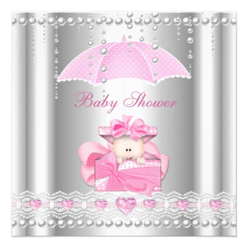 baby shower girl baby pink umbrella pearl silver square