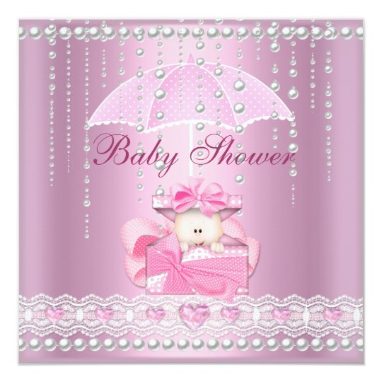 Baby Shower Girl Baby Pink Umbrella Pearl White Card