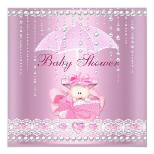 Baby Shower Girl Baby Pink Umbrella Pearl White Invitation