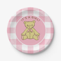 Baby Shower Girl Bear with Pink Buffalo Check Paper Plate