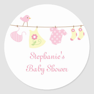 Baby shower girl birds and laundry stickers