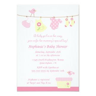 "Baby shower girl birds laundry party invitation 5"" x 7"" invitation card"