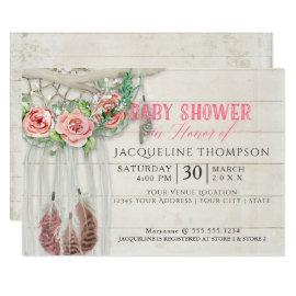 Baby Shower Girl BOHO Dream Catcher Shiplap Wood Card
