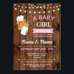 "Baby Shower Girl Brewing Beer Pink BBQ Wood Invite<br><div class=""desc"">Rustic wood baby shower invite design. Perfect for a Baby girl,  Twin girls,  Mom Shower,  Couples Shower etc. SIMPLY CHANGE THE TEXT TO SUIT YOUR PARTY. Back print included</div>"