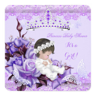 Baby Shower Girl Butterfly Lilac Lavender Rose Card