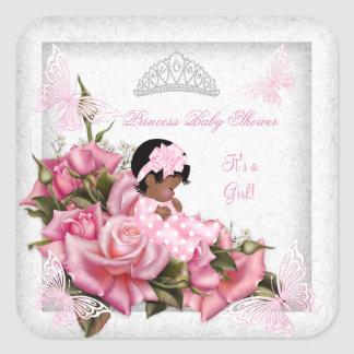 Baby Shower Girl Butterfly Pink Rose Baby AA Square Sticker