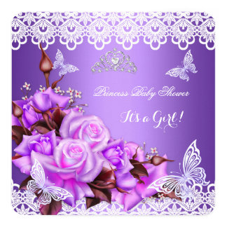 Baby Shower Girl Butterfly Purple Pink Lilac Roses Card