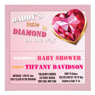 Baby Shower GIRL Daddy's Little Diamond Invitation