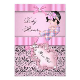 Baby Shower Girl Damask Pink Gray Custom Invite
