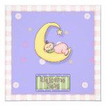 "Baby Shower Girl Decorative Design 5.25"" Square Invitation Card"